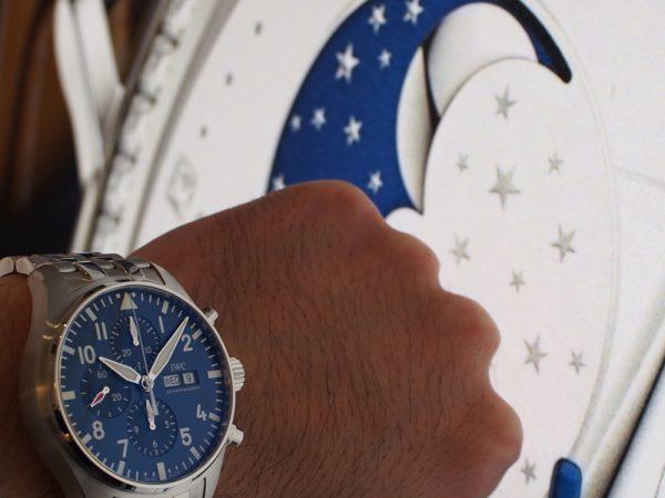 """ブルーの文字盤が夜空を思わせる 「パイロット・ウォッチ・クロノグラフ・""""プティ・プランス""""」"""