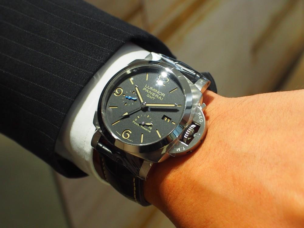 オオミヤ京都店で人気のパネライご紹介します!ルミノール 1950 3デイズ GMT パワーリザーブ オートマティック アッチャイオ【PAM01321】