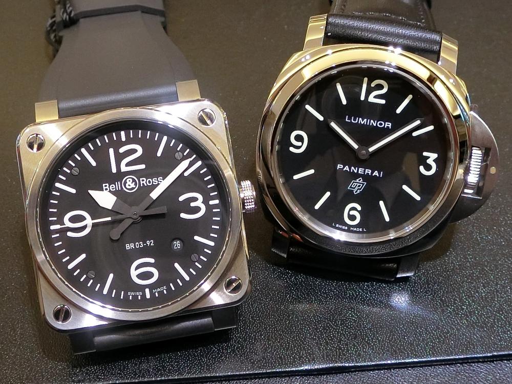 文字盤が似ている時計のご紹介!!Bell&Ross 「BR 03-92 スティール」BR0392-BL-ST/SRB PANERAI「ルミノール ベース ロゴ アッチャイオ」PAM01000
