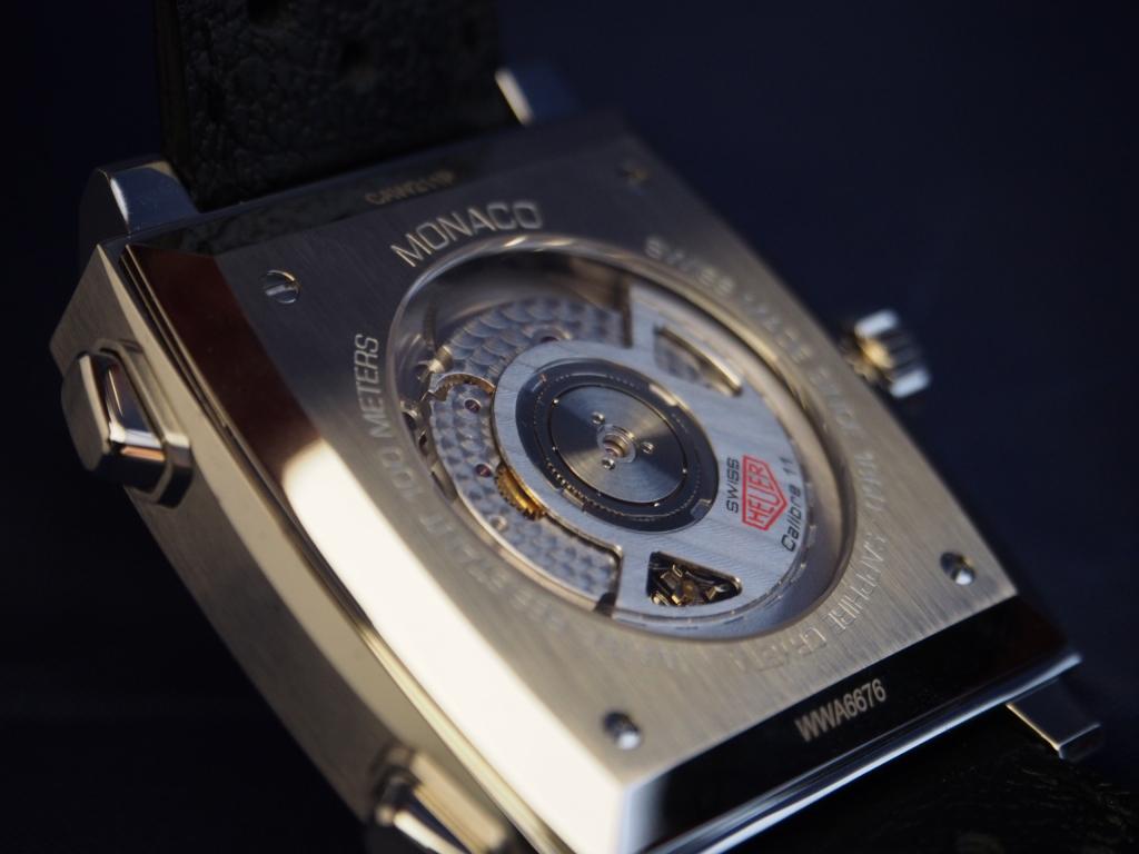 ユニークなデザインが魅力な「タグホイヤー モナコ キャリバー11 オートマチック クロノグラフ」-TAG Heuer -PC170485