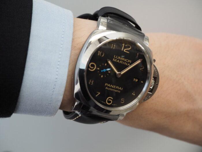 無骨な本格時計は腕に乗せてこそ本当の魅力を感じられます。パネライ ルミノール マリーナ1950 3デイズ-PANERAI -P5190016-700x525