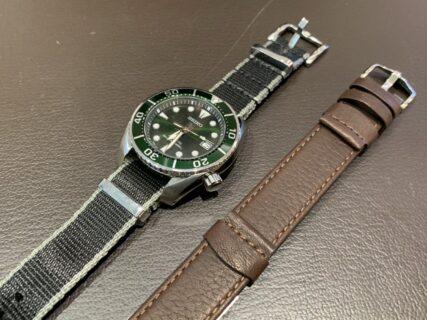 ヒルシュ / お客様の時計をレザー製 引き通し型ストラップに付け替え!