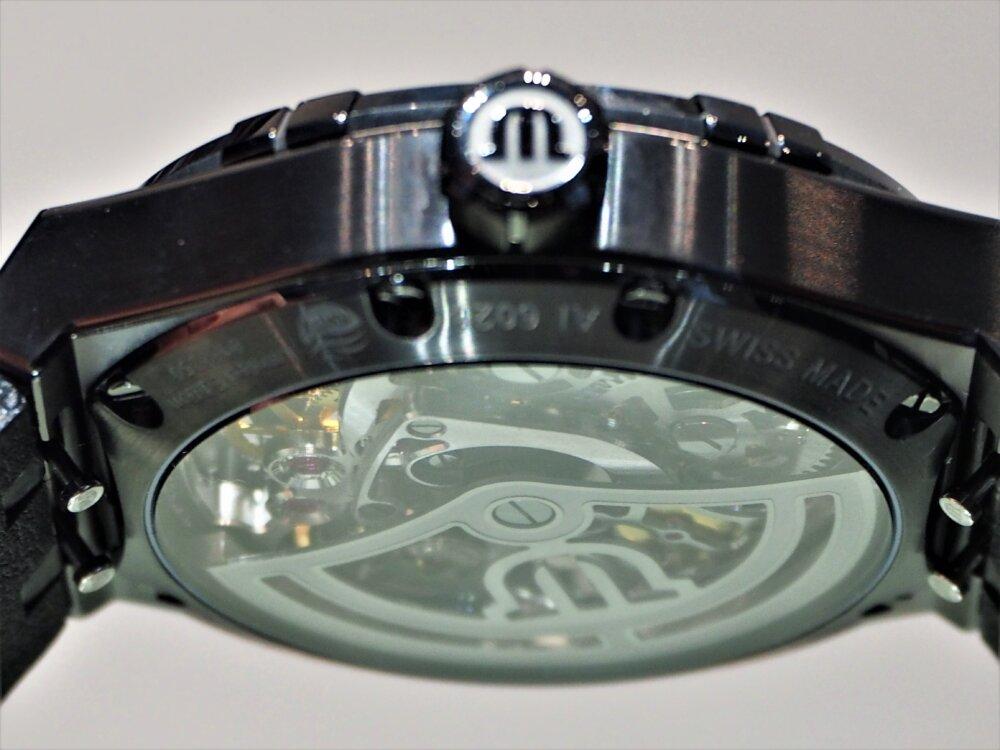 """【モーリス・ラクロア】""""BLACK IS BEAUTIFUL"""" アイコン オートマチック スケルトン 限定モデル-MAURICE LACROIX -P5122590"""