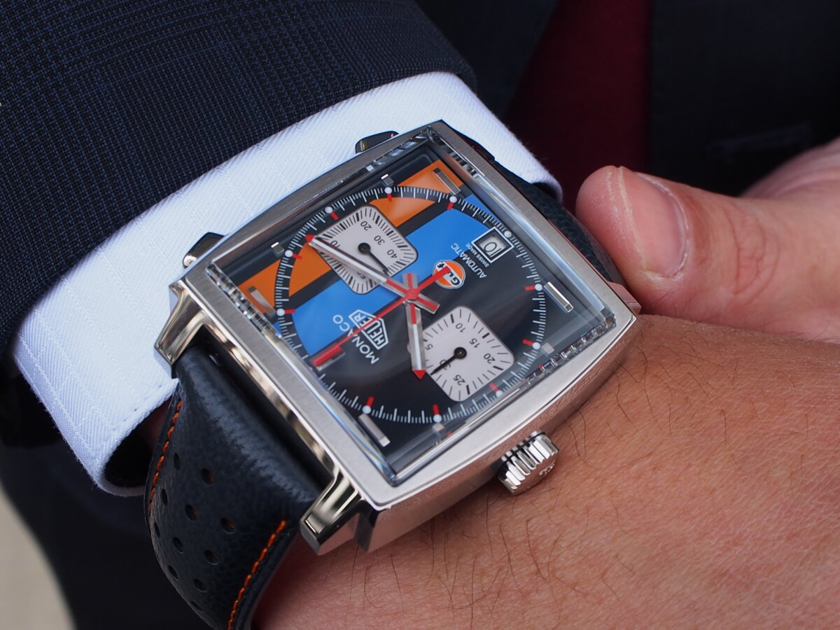 【タグ・ホイヤー】レーシングカラーが魅力的!モナコ キャリバー11 ガルフ スペシャルエディション-TAG Heuer -P1117177