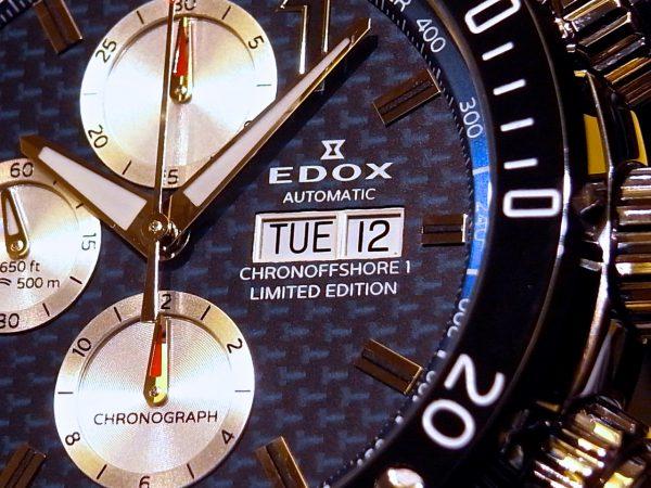 EDOXの人気モデル、世界限定 クロノオフショア1 クロノグラフ オートマチック リミテッドエディションがご覧頂けます。-EDOX -R0122854-600x450