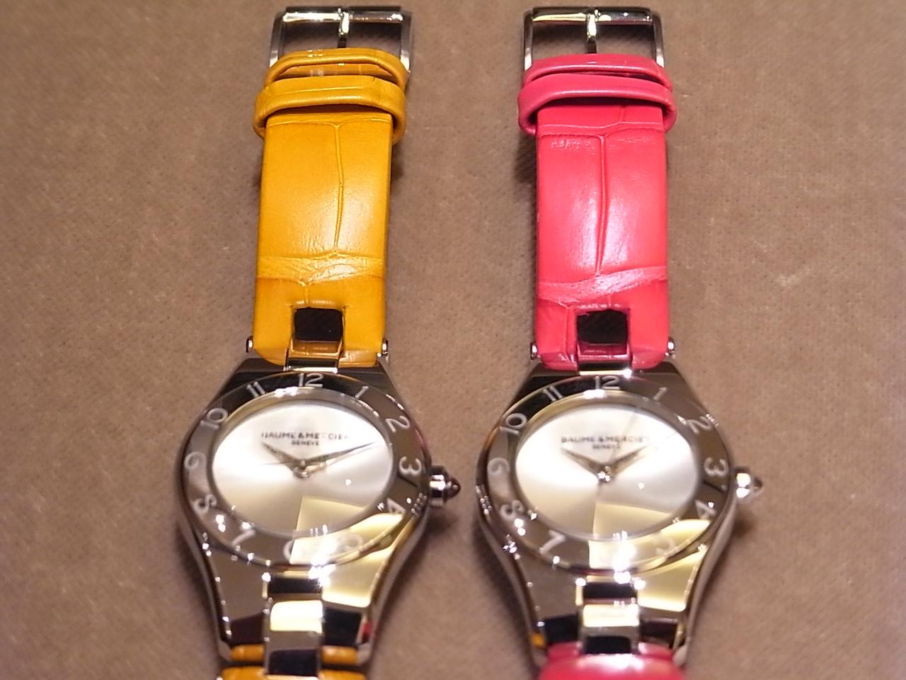 鮮やかな限定カラーのストラップが印象的な、ボーム&メルシエのレディスモデル「リネアクオーツ ピンク&イエロー」。