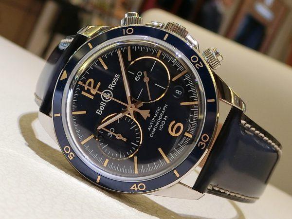 ブルー×ゴールドの配色が魅力的な ベル&ロス 「ヴィンテージBR V2-94 AERONAVALE」-Bell&Ross -CIMG4087-600x450