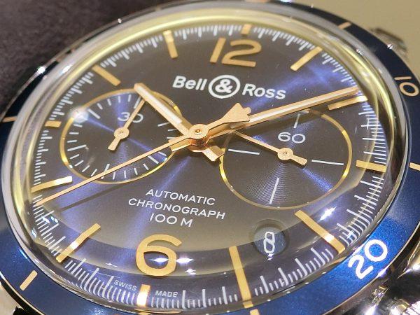 ブルー×ゴールドの配色が魅力的な ベル&ロス 「ヴィンテージBR V2-94 AERONAVALE」-Bell&Ross -CIMG4093-600x450