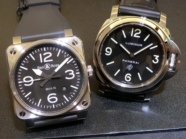 文字盤が似ている時計のご紹介!!Bell&Ross 「BR 03-92 スティール」BR0392-BL-ST/SRB PANERAI「ルミノール ベース ロゴ アッチャイオ」PAM01000-Bell&Ross PANERAI -CIMG5764-600x450