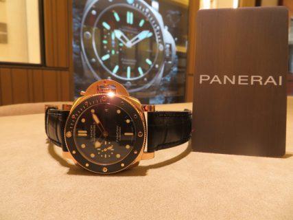 一際目立つパネライモデルPAM00684!!ブランドを象徴する、リューズガードにもレッドゴールドを採用!!