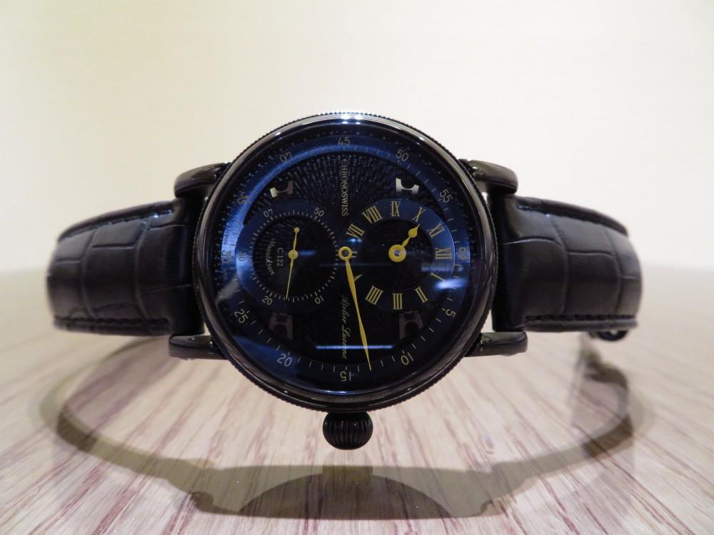 オシャレな人の腕元にはオールブラックの腕時計! クロノスイス「シリウス フライング・レギュレーター マニュファクチュール」CH-1245.3-BKBL-CHRONOSWISS -IMG_1914