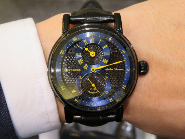 オシャレな人の腕元にはオールブラックの腕時計! クロノスイス「シリウス フライング・レギュレーター マニュファクチュール」CH-1245.3-BKBL-CHRONOSWISS -IMG_1921