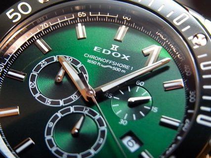 1884年創業の歴史のあるブランド「エドックス」から、美しいグリーンのカラーが新鮮!「クロノオフショア1 クロノグラフ スペシャルエディション」