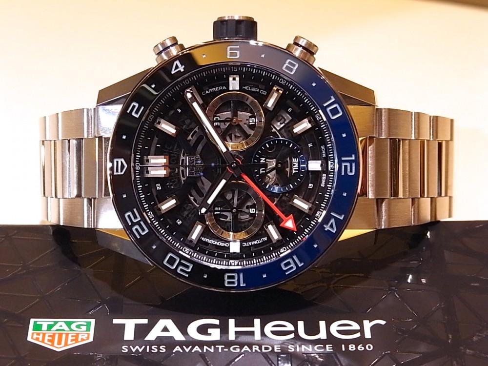 タグホイヤー ブラック&ブルーのベゼルがアクセント ♪ 「カレラ キャリバー ホイヤー02 クロノグラフ GMT」-TAG Heuer -R1170426