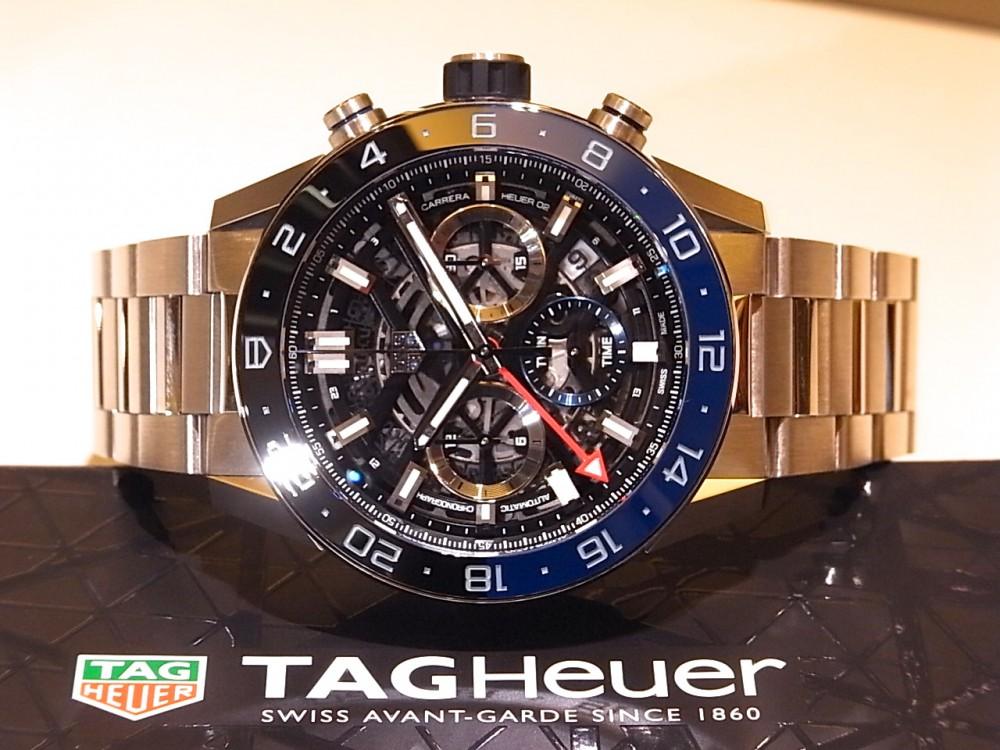タグホイヤー ブラック&ブルーのベゼルがアクセント ♪ 「カレラ キャリバー ホイヤー02 クロノグラフ GMT」-TAG Heuer -R1170427