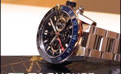 タグホイヤー ブラック&ブルーのベゼルがアクセント ♪ 「カレラ キャリバー ホイヤー02 クロノグラフ GMT」