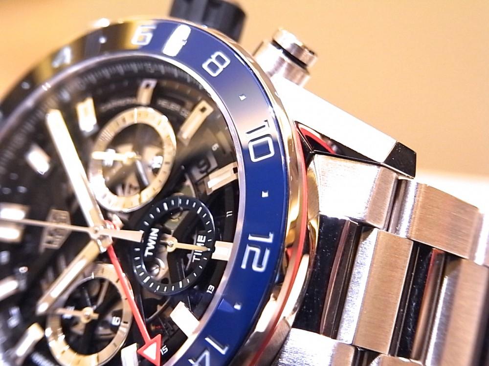 タグホイヤー ブラック&ブルーのベゼルがアクセント ♪ 「カレラ キャリバー ホイヤー02 クロノグラフ GMT」-TAG Heuer -R1170430