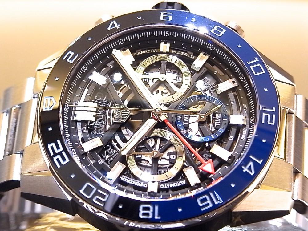 タグホイヤー ブラック&ブルーのベゼルがアクセント ♪ 「カレラ キャリバー ホイヤー02 クロノグラフ GMT」-TAG Heuer -R1170431
