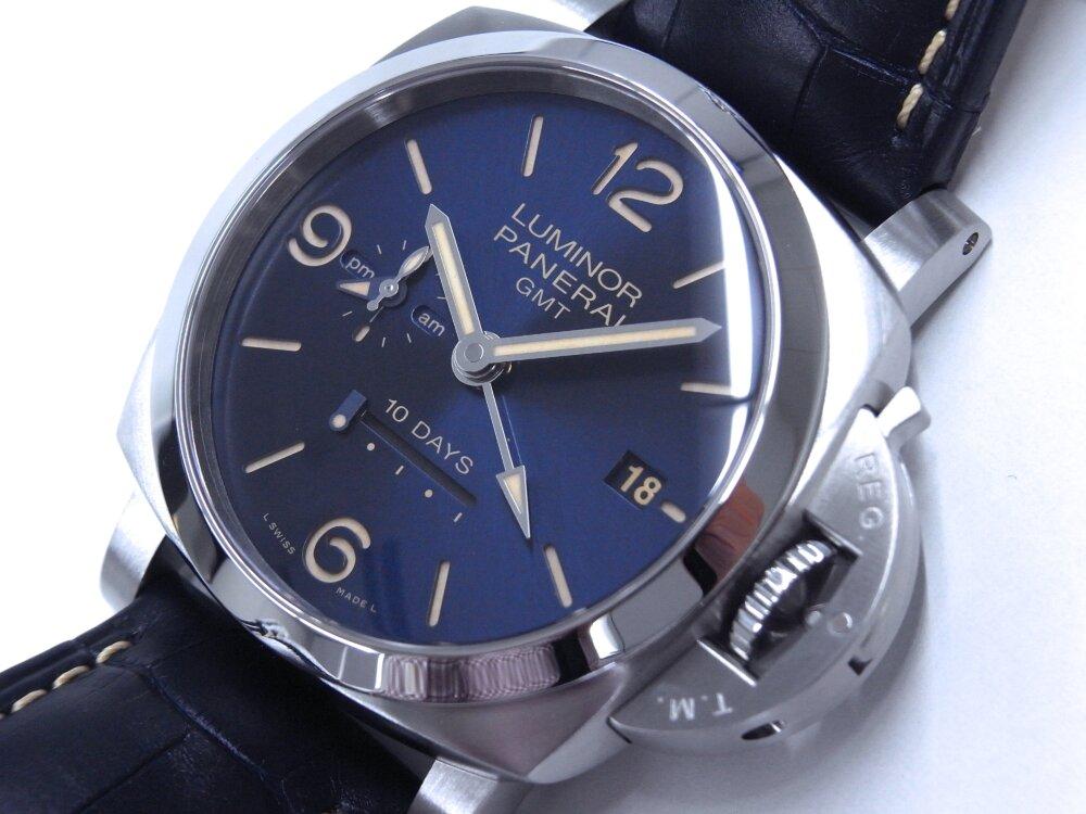 パネライ ブルー文字盤 を採用した10日間の パワーリザーブが実現した ルミノール GMT 10デイズ PAM00986-PANERAI -R1172966