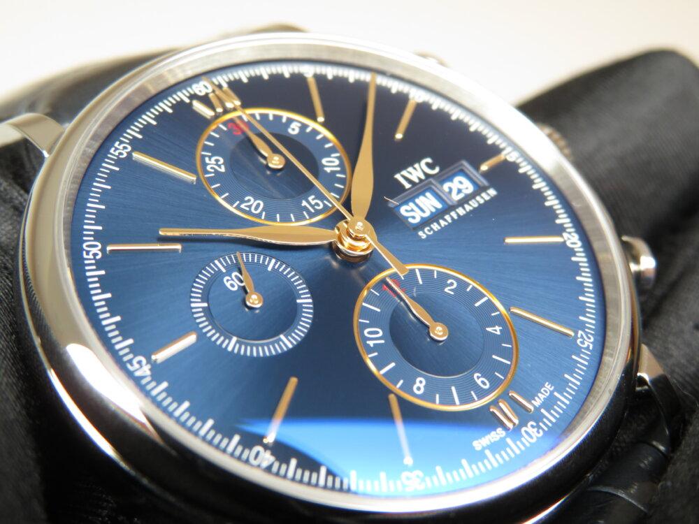 IWC 2019年新作!!上品なゴールドカラーの針・インデックスと新しい青文字盤がキレイな機械式時計!!ポートフィノ・クロノグラフ!!-IWC -IMG_2324