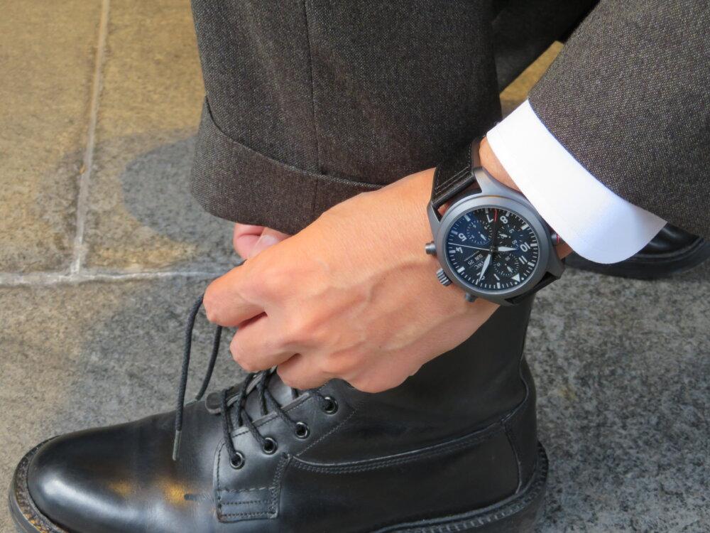 ウィンターフェア開催中!オールブラックの新素材!エリートのための高級機械式時計!!IWCパイロット・ウォッチ・ダブルクロノグラフ・トップガン・セラタニウム!!-IWC -IMG_2904