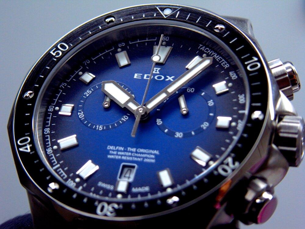 ブルーのグラデーションダイヤルが印象的な、 EDOX(エドックス) デルフィン - EDOX