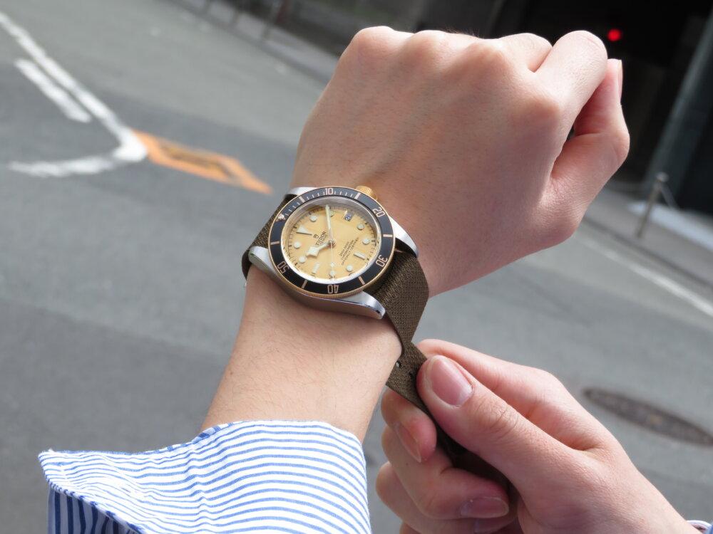 """【チューダー】これからの季節はファブリックストラップで時計を楽しむ  """"ブラックベイ S&G""""-TUDOR -IMG_0541"""