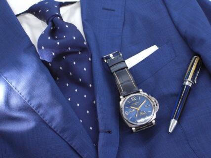パネライ ワンランク上のスーツスタイルに、ルミノールドゥエGMTパワーリザーブ  PAM00964