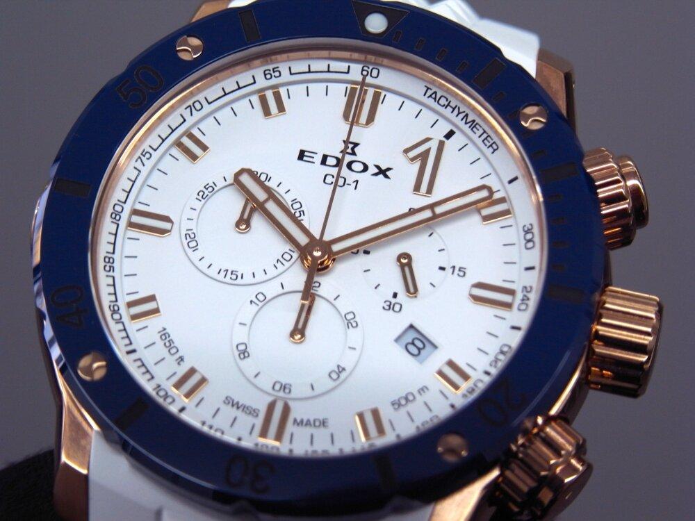 ビーチに映える白とブルーの爽やかウォッチ クロノオフショア1 クロノグラフ スペシャルエディション-EDOX -R1173840