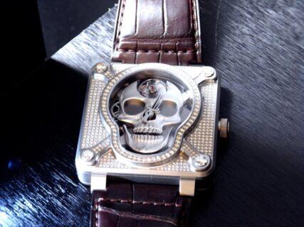 「オートマタの世界」   ベル&ロス BR 01 ラッフィング スカル フルダイヤモンド