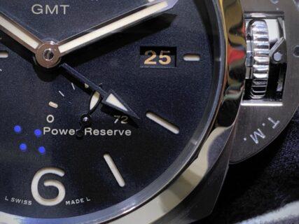 パネライ多機能ウォッチ、ゼロリセットが便利?ルミノール GMT パワーリザーブ PAM01321