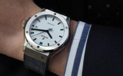 ウブロフェア開催中!爽やかさ引き立つホワイト×ブルーの日本限定モデル「クラシック・フュージョン チタニウム ホワイトシャイニー ブルー」