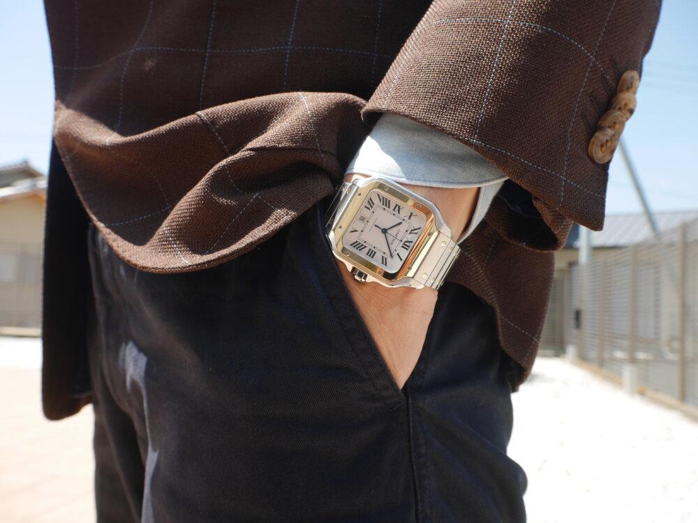 スタッフ愛用時計ご紹介! 着け心地も抜群のサントス ドゥ カルティエ-Cartier -P1410032