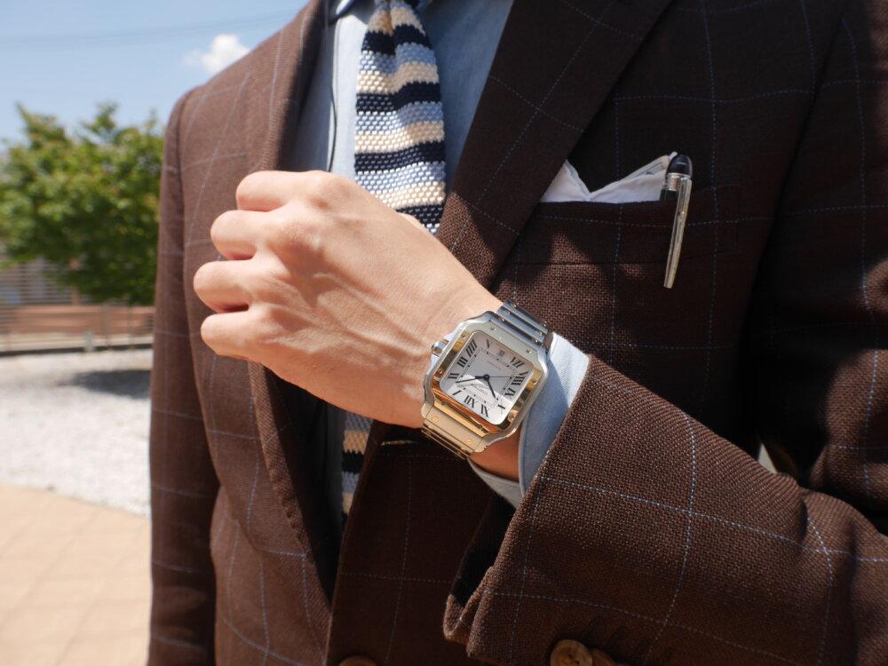 スタッフ愛用時計ご紹介! 着け心地も抜群のサントス ドゥ カルティエ-Cartier -P1410039