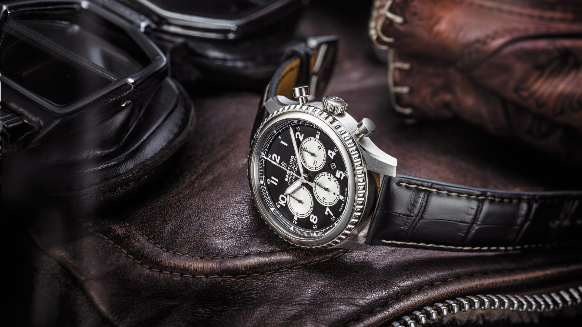 Navitimer 8 B01 with black dial and black alligator leather strap. (PPR/Breitling)