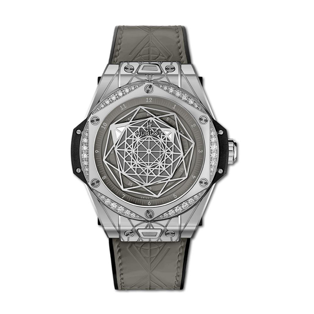 ビッグ・バン ワンクリック サンブルー スチール グレー ダイヤモンド