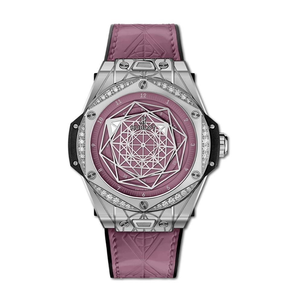 ビッグ・バン ワンクリック サンブルー スチール ピンク ダイヤモンド